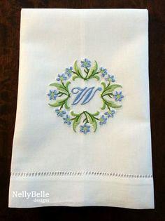 Monogrammed guest towel. Floral monogram on linen/cotton guest towel. NellyBelle Designs