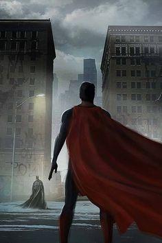 Superman, flying, batman, buildings, art, 720x1280 wallpaper