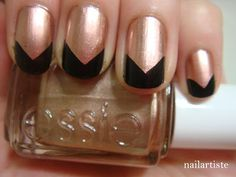 rose gold + reverse black chevron tips Bronze Nails, Copper Nails, Pretty Nail Designs, Colorful Nail Designs, Rose Gold Nails, Black Nails, Hot Nails, Hair And Nails, Wedding
