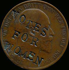 Penique de Eduardo VII grabado con una reivindicación sufragista