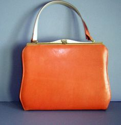 Vintage 60s Purse Handbag ORANGE Leather