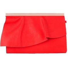 Coast Elena Ruffle Clutch Bag, Red ($24) ❤ liked on Polyvore featuring bags, handbags, clutches, evening hand bags, red hand bags, special occasion clutches, hand bags and red evening handbags