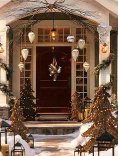 Weihnachtsdekoration Eingandstür Laternen