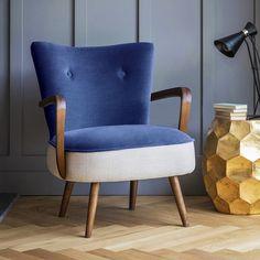 Calvin Armchair in Blue Velvet and Linen