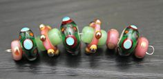 Handmade Artisan Lampwork Bead Set in Pinks and by blancheandguy