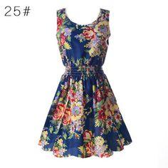2017 Sexy Chiffon Dress Sleeveless Summer Sundress Floral Tank Mini Dress