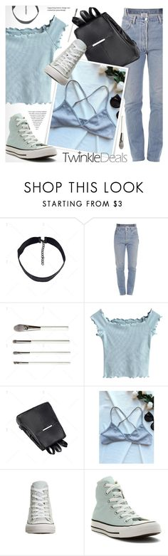 """""""TWINKLEDEALS: Cropped light blue 90s top!"""" by vn1ta ❤ liked on Polyvore featuring Vetements and Converse"""