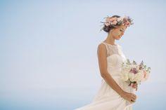 Bride wears a wedding dress by Australian Designer Moira Hughes | Photography by http://www.roncaglioneweddingphotographers.com/
