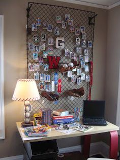 for baseball theme bedroom - dug out fence, beverage crate nightstand OMG.we have to find this when we get ready to redo Blake& room! Boys Bedroom Decor, Bedroom Themes, Bedroom Ideas, Teen Bedroom, Bedroom Designs, Crate Nightstand, Do It Yourself Design, Boys Home, My New Room