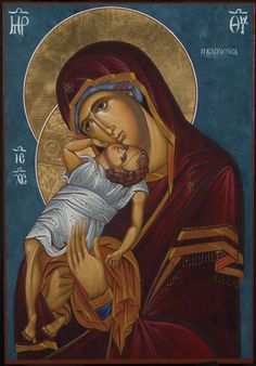 High quality hand-painted Orthodox icon of Theotokos Tender Mercy. BlessedMart offers Religious icons in old Byzantine, Greek, Russian and Catholic style. Orthodox Icons, Spiritual Art, Christian Artwork, Hand Painted, Paint Icon, Modern Catholic, Artwork, Christian Art, Sacred Art