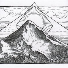 An original piece of mountain art by me, Lizzy Dalton. This pen drawing is part of my Cascades Volcanoes series and depicts Mt. Hood in Oregon. It