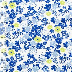 Blue Chartreuse Retro Floral on White Cotton Jersey Knit Fabric