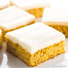 This easy pumpkin bars recipe with canned pumpkin & cream cheese frosting is gluten-free & low carb, with healthy, natural ingredients. Just 10 min prep!