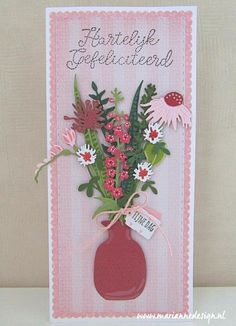 3d Paper Flowers, Marianne Design Cards, Long Flowers, General Crafts, Flower Cards, Diy Cards, Birthday Cards, Banners, Craft Projects