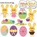 Easter Bunny and Egg Cliparts