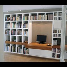 Risultati immagini per wandmeubel met bureau Library Study Room, Study Room Design, Home Library Design, House Design, Library Ladder, Ceiling Shelves, Shelving, Decorating Bookshelves, Multipurpose Furniture