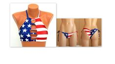 American Flag Bikini/USA flag strappy bikini top and bikini bottoms/Swimwear women/Bathing suits/Swimsuits plus size/Flag bikini set - Woman Dress Strappy Bikini Top, Bikini Set, Bikini Bottoms, Bikini Tops, Women's Bottoms, Wrap Around Bikini Top, American Flag Bikini, Sexy Beach Wear