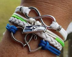 NFL Seattle Seahawks Multi-Strand Friendship Infinity Charm Bracelet Sports Football Team