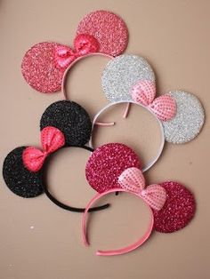 New Glitter Minnie Mouse Ears & Bow Black Pink Hen Party Fancy Dress Costume Minnie Mouse, Disfraz Minnie Mouse, Mickey Mouse Ears Headband, Minnie Mouse Party, Unicorn Headband, Diy Headband, Ear Headbands, Black Pink, Disney Designs