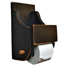 New Primitive Country Farmhouse Rustic BLACK WOOD TOILET PAPER HOLDER WALL SHELF…