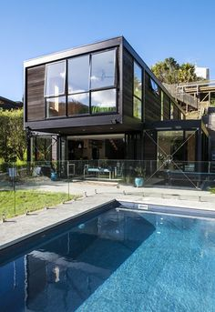 Architecture, Awesome Modern House Plans By BOX Living With Large Windows House Building Plans Cantilever Style Excellent Terrace And Front Yard Scenery Green Grass At Bottom Of Slope Swimming Pool: Large Windows House Building Plans Giving Many Benefits