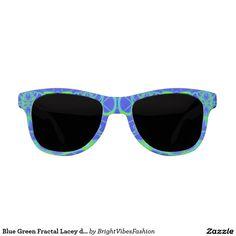 Blue Green Fractal Lacey design Sunglasses