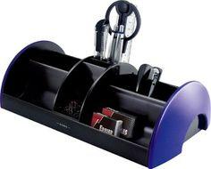 Exerz EX895A O-Life MEGA Organiseur de bureau 30x16x9 cm - 9 pcs - rempli avec des ciseaux, cutter, agrafeuse, agrafes, stylos, règle, gomme à effacer, des clips (Bleu)