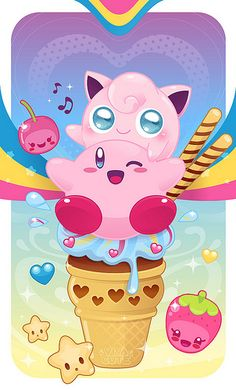 I'm sorry, but this is way too cute. Kirby, Jigglypuff, and cute food... I would…