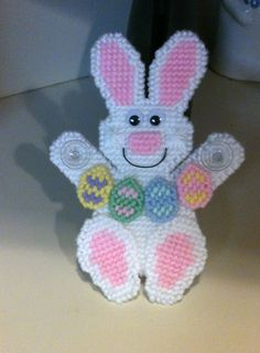 Easter Bunny Window Decoration Needlepoint Plastic Canvas on Etsy, $6.00