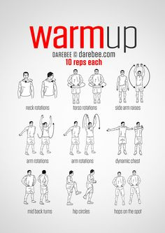 Workout warm up - PreWorkout WarmUp (always warmup before your workout and then stretch after) Fitness Workouts, Gym Workout Tips, Workout Warm Up, Workout Challenge, Yoga Fitness, At Home Workouts, Health Fitness, Gym Warm Up, Training Workouts