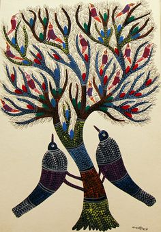 Gond Painting - By the Gond Tribes of Madhya Pradesh.