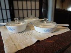 Vintage Corning Ware Cornflower Blue Menuette Stove Top Cookware Set