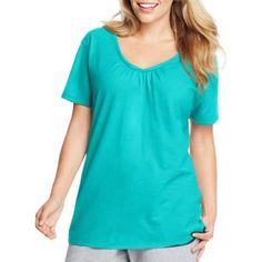 Just My Size Women's Plus-Size Slub Shirred V-Neck, Size: 2XL, Blue