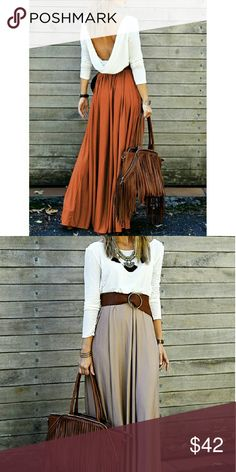 White and Burnt Orange Maxi Fabulous long sleeve maxi dress with draped back. White top with orange bottom. First pic is actual dress (second pic just shows how front of dress looks). Does NOT come with belt. Perfect for Fall. Tag displays a size larger than the actual fit. Please see measurements below.   Medium - Waist: 27.17 inches, Length: 55.51 inches Dresses Maxi
