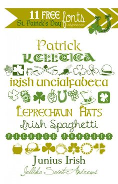 Patricks Day Fonts, make your own printables, cards, posters, and more with these FREE fonts! Fancy Fonts, Cool Fonts, Saint Patrick, Typography Fonts, Hand Lettering, Typography Design, Irish Font, Shamrock Printable, Spring Font