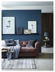 Grey And Brown Living Room, Blue Living Room Decor, Accent Walls In Living Room, Indian Living Rooms, Living Room Color Schemes, Paint Colors For Living Room, Living Room Furniture, Brown Furniture, Family Room Colors