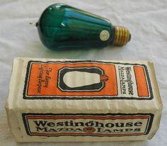 Vintage Westinghouse Mazda Green Glass Tungsten Light Bulb in Box. c.1919 | eBay