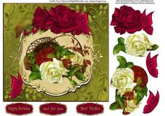 A Basket Of Red White Roses Topper Decoupage on Craftsuprint - Add To Basket!