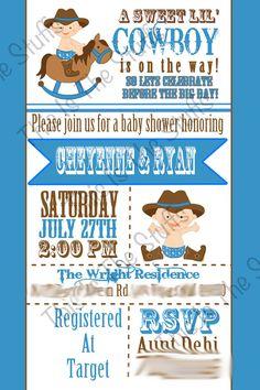 Cowboy or Little Buckaroo Baby Shower Invitation