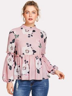 To find out about the Bishop Sleeve Frill Detail Floral Blouse at SHEIN, part of our latest Blouses ready to shop online today! Kurta Designs, Blouse Designs, Floral Blouse Outfit, Frill Blouse, Collar Blouse, Abaya Fashion, Fashion Dresses, Short Frocks, Mode Top
