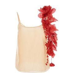 Rosie Assoulin Camisole with Red Removeable Flower Garlands (€1.130) ❤ liked on Polyvore featuring intimates, camis, tops, pink, red camisole, rosie assoulin, red cami, pink cami and pink camisole