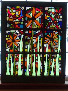 Flowers Stained Glass Mosaic Window by CaudillGlassWorks on Etsy, $325.00