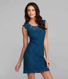 I think I must buy this dress! Dillards, Dress To Impress, Cap Sleeves, Formal Dresses, Teal Dresses, Style Me, Lace Dress, Style Inspiration, Clothes