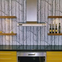 Modern yellow and grey kitchen | Kitchen wallpaper ideas - 10 of the best | housetohome.co.uk