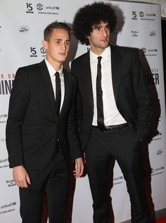 Adnan Januzaj and Marouane Fellaini arrive at UNICEF Charity Dinner