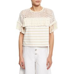 See By Chloe Boxy Cropped Mixed-Media Tee (670 BRL) ❤ liked on Polyvore featuring tops, t-shirts, cream, white t shirt, white cotton t shirts, short sleeve t shirts, striped tee and long-sleeve crop tops