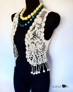 Gorgeous Vintage Women Boho Crochet Bolero Vest Off White by kbazaar2012, $40.00
