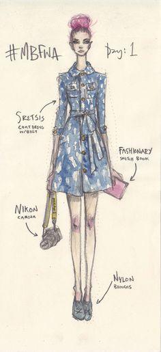 Street style illustration by Pippa McManus Illustration.Files: #MBFWA S/S 2013-2014 Street Style Diary by Pippa McManus | Draw A Dot.