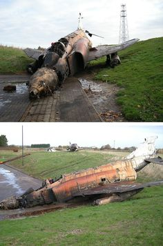 It's a sad end for this old warplane - F-4 Phantom XV411 in the fire pits of Manston