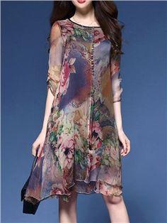 Ericdress Silk Print Loose Casual Dress